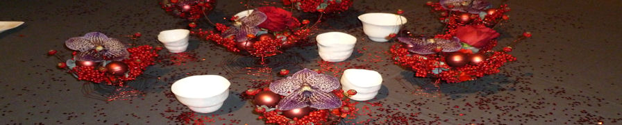 Red table arrangements